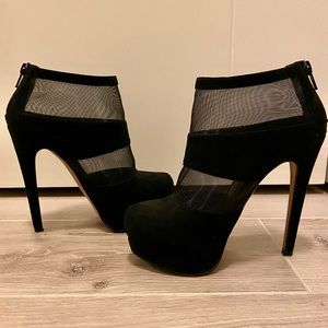 Black Suede & Mesh Stiletto Ankle Boots, Size 5